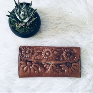 Mexican Sunflower Tooled Leather Wallet